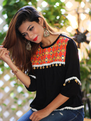 Mahnoor Mirror Top, a quirky boho bell sleeves top with mirror and coin detailing from our latest designer collection of tops for women online.