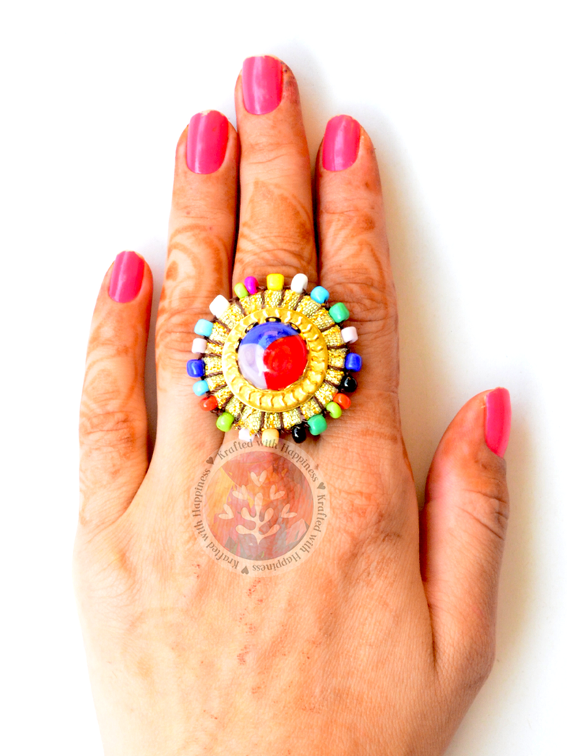 Majestic Mandala Ring, a cute, quirky, multicoloured ring that can be paired with many outfits, from our latest collection of designer rings for girls
