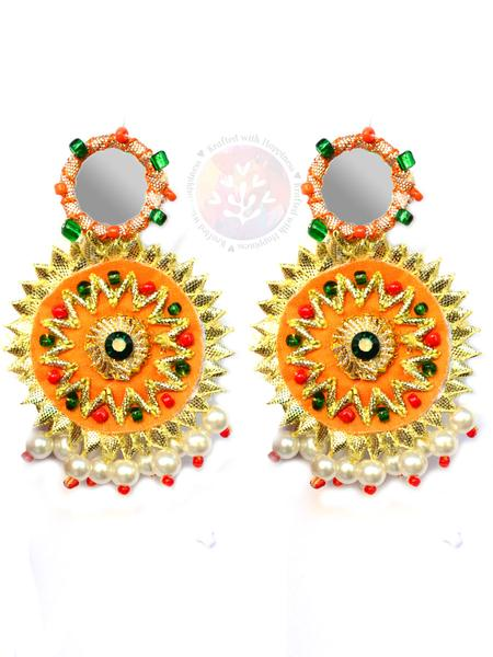 Mirror Magnificence Earrings, a beautiful gota patti work earring with mirror detailing from our hand embroidered collection of earrings for women.