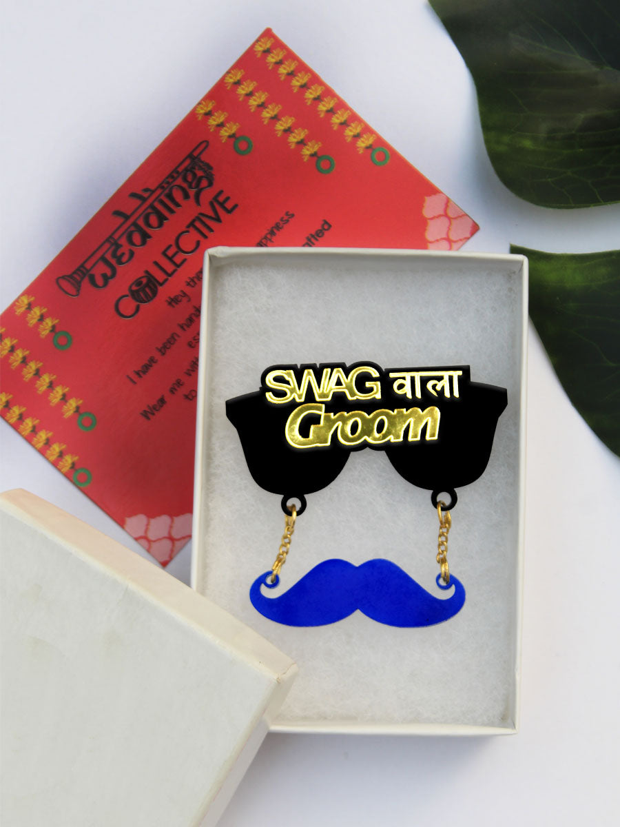 Swag Wala Groom Brooch, a unique, quirky, handmade brooch from our wide range of wedding collection for men and women.