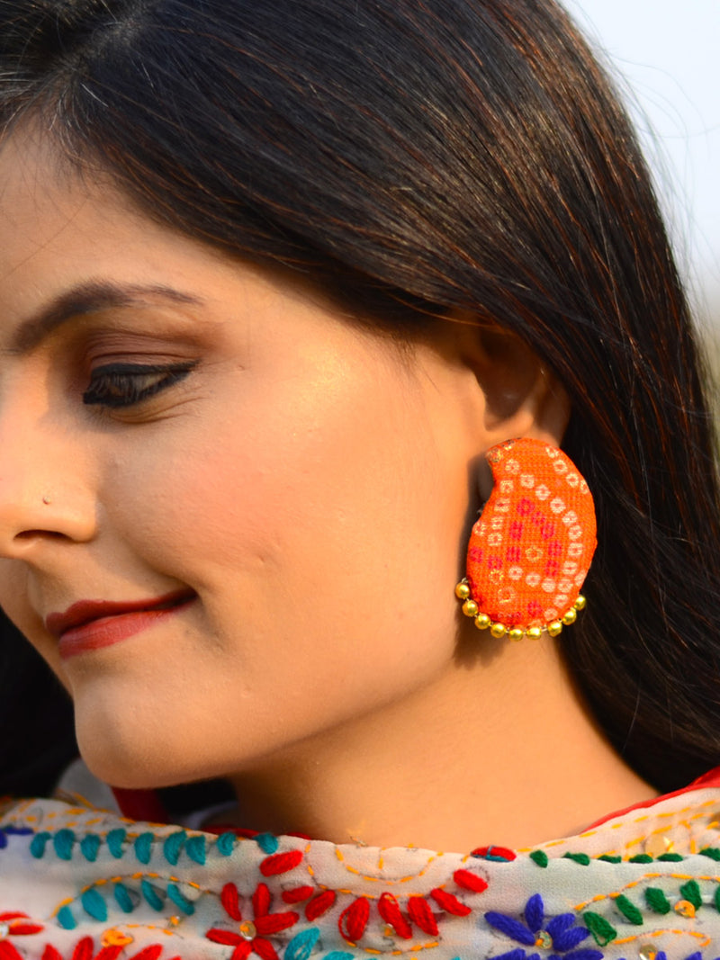 Paisley Bead Earrings, a handcrafted paisley earring with handmade bandhej and beads from our designer collection of earrings for women online.