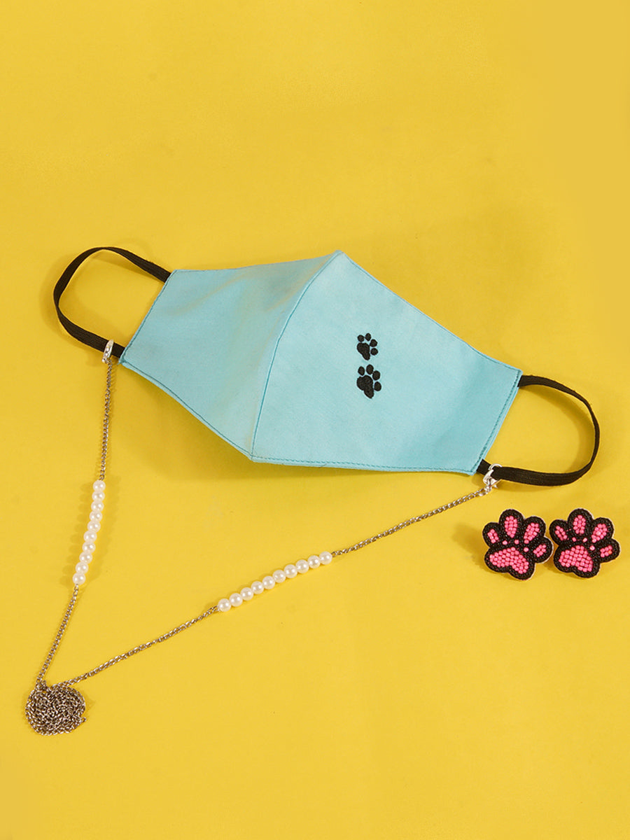Embroidered Dog Lover Mask with Chain + Paw Bead Earrings Set