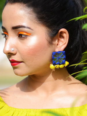 Rabia Hand-embroidered Mirror Earrings, an embroidered mirror earring from our designer collection of earrings for women.
