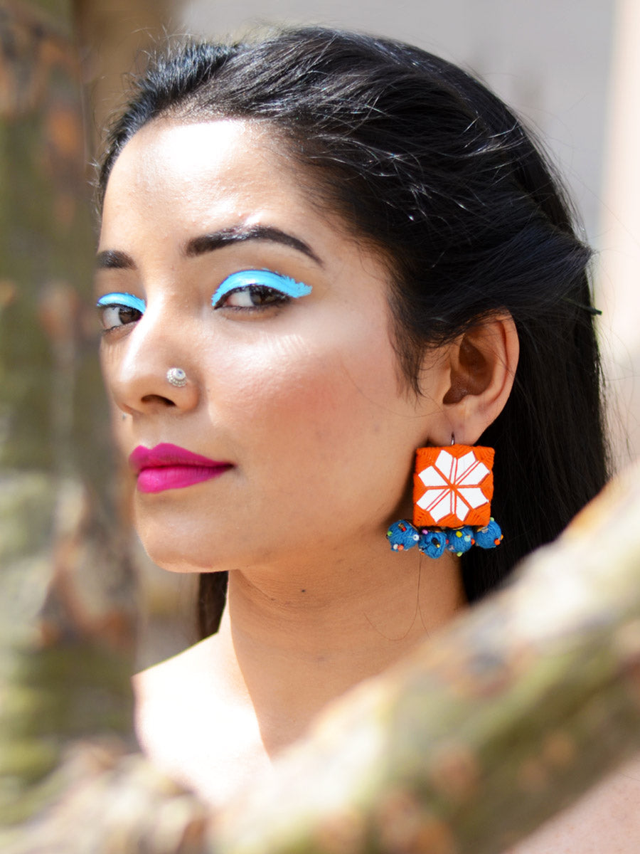 Rabia Hand-embroidered Mirror Earrings