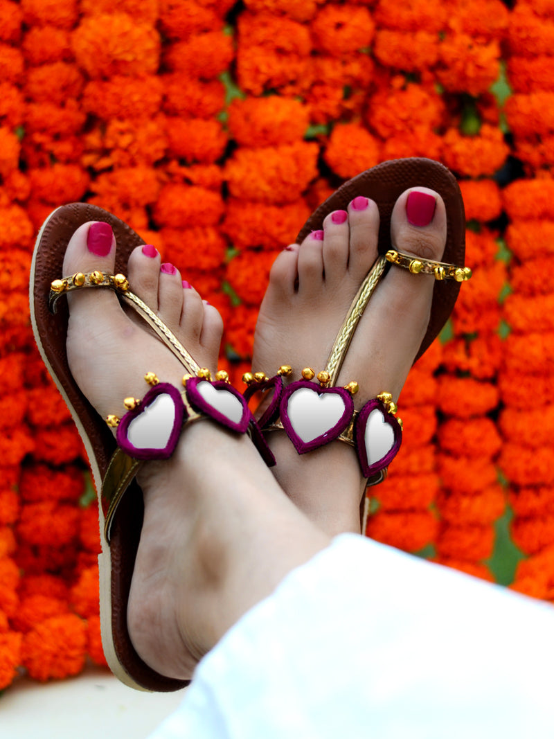 Raani Noor Kolhapuris, a beautifully hand embroidered ethnic kohlapuri footwear with mirror and ghungroo detailing.