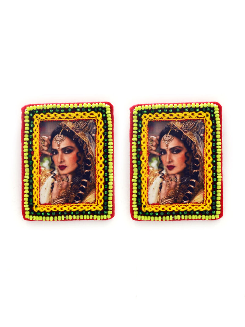 Eternal Rekha Earrings, a beautifully hand-embroidered earring from our designer collection of boho, Kundan and tassel earrings for women.