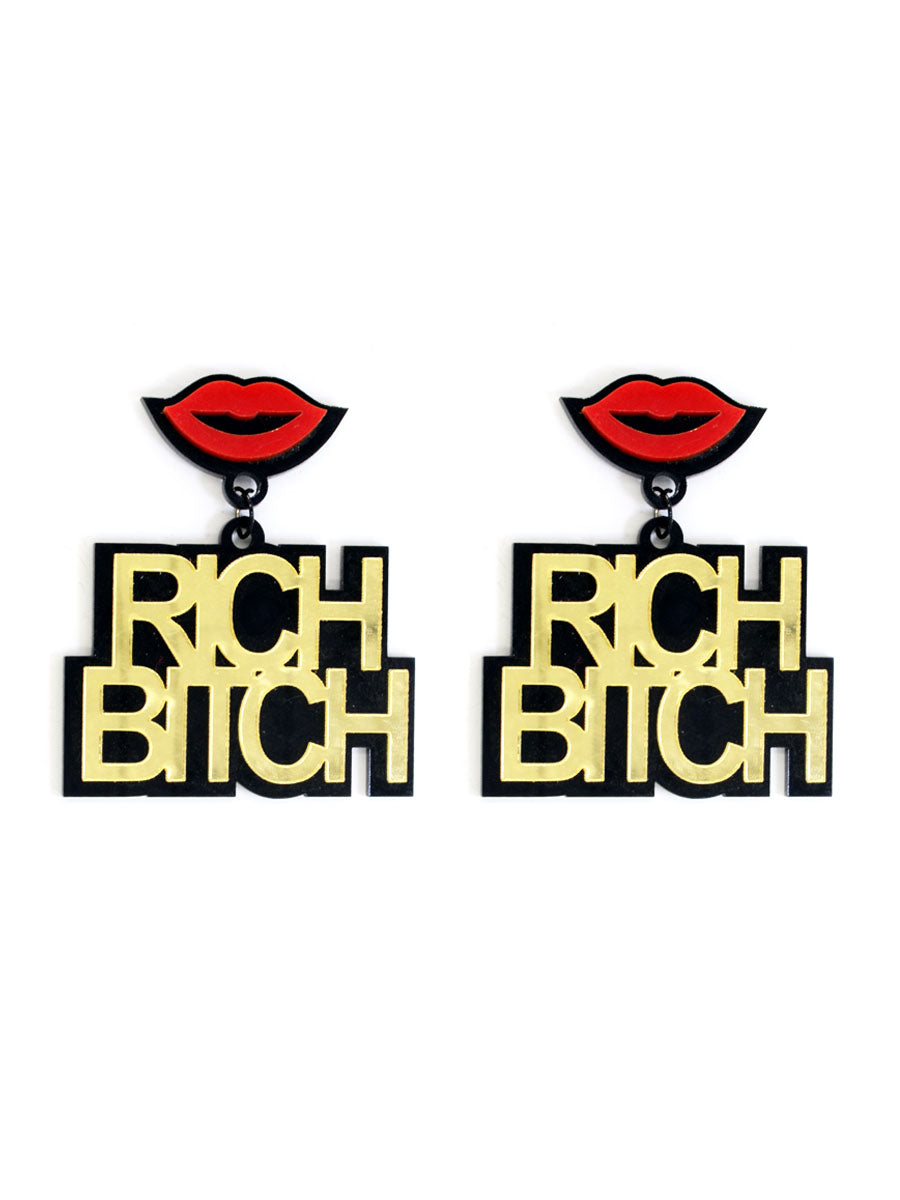Rich Bitch Earrings, a quirky, unique, statement party-wear earrings from our designer collection of earrings for women online.