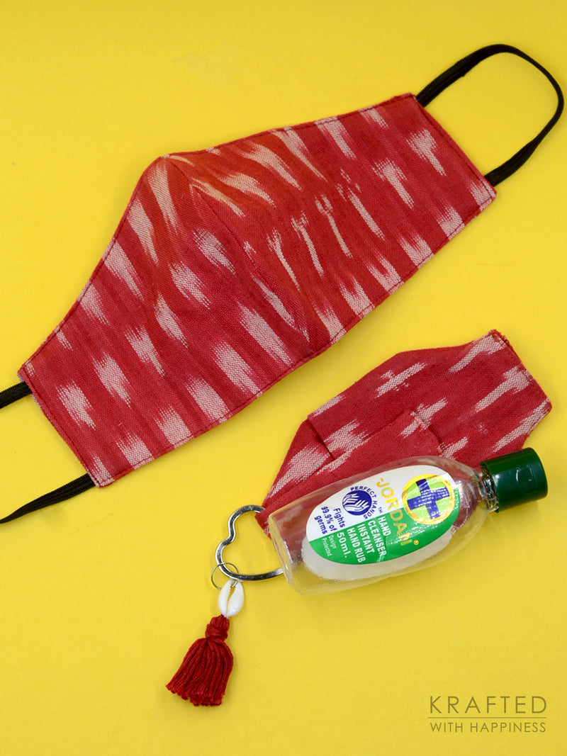Cotton Printed 3-Ply Mask + Sanitizer Holder Bagcharm Set