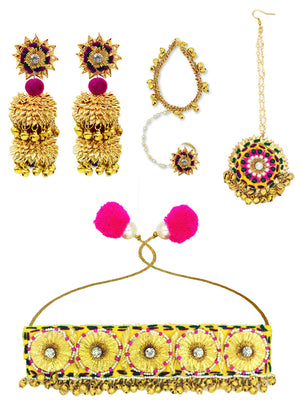 Shehnai Gota Choker Set, a gota patti work choker necklace set of a necklace, maang tikka and earrings with ghungroos and beads from our festive collection for women.