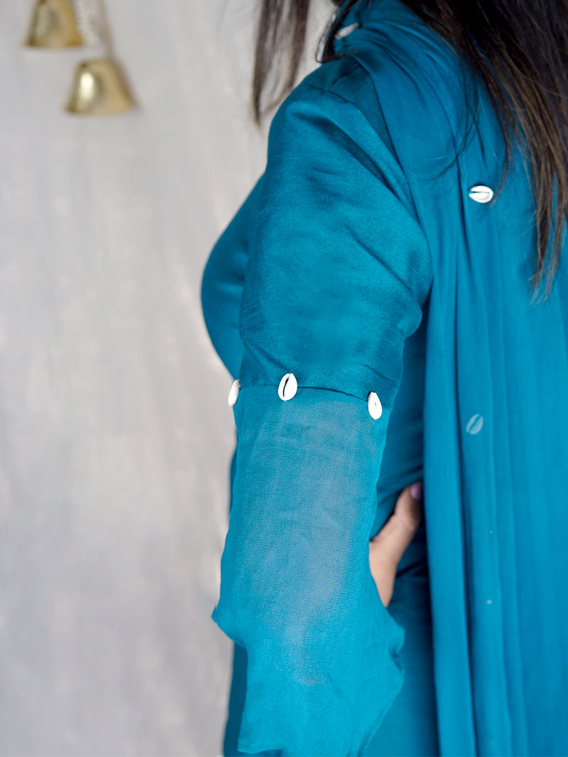 Tara Blue Silk Suit with Pallazo and Shell Detailing