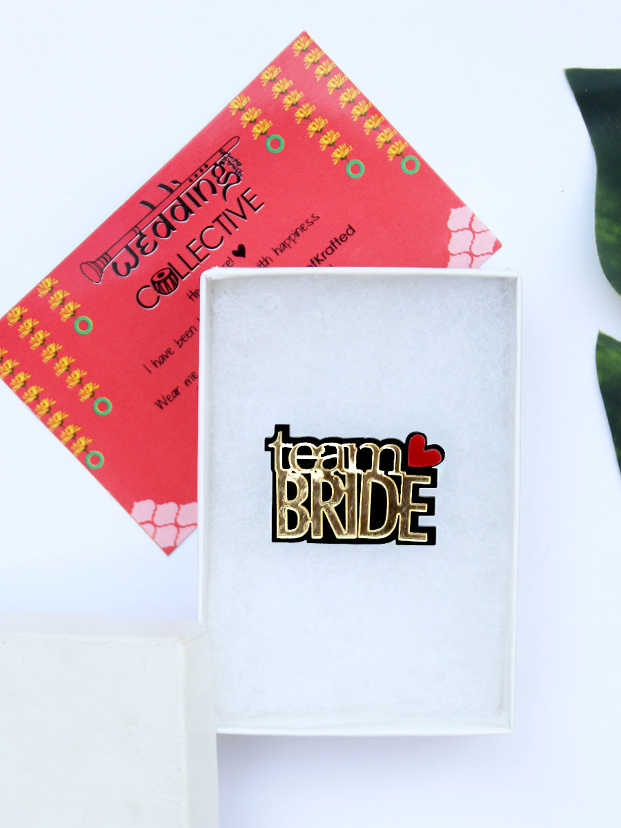 Team Bride Brooch, a handmade statement brooch from our wide range of latest quirky wedding collection of brooches for women.