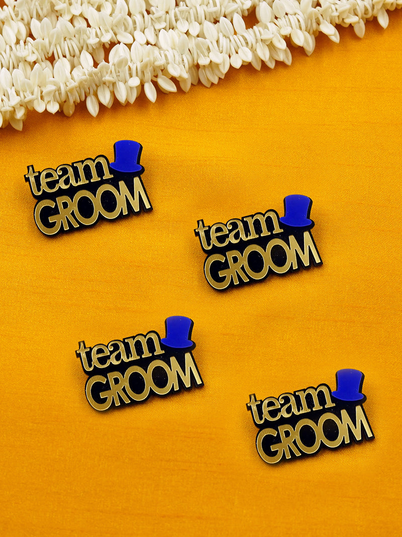 Team Groom Brooch Set of 4