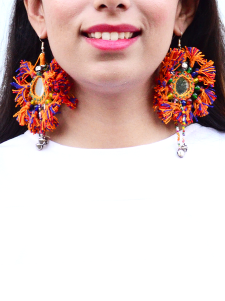 Tiny You're my Sun Earrings, a beautiful handmade hand embroidered earring with mirror and tassel from our designer collection of earrings for women.