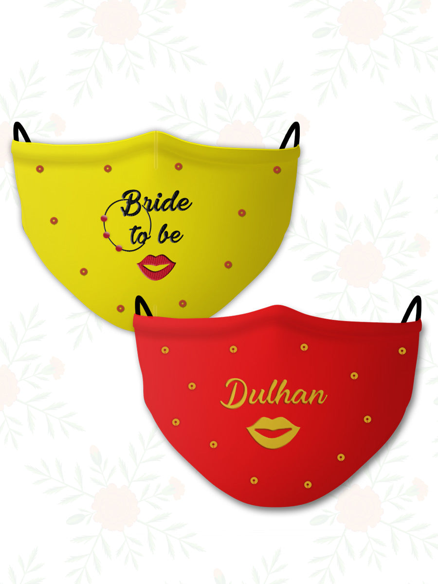 Dulhan + Bride to Be (Set of 2) Wedding Face Mask