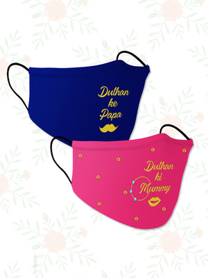 Dulhan ke Papa + Mummy (Set of 2) Wedding Face Mask