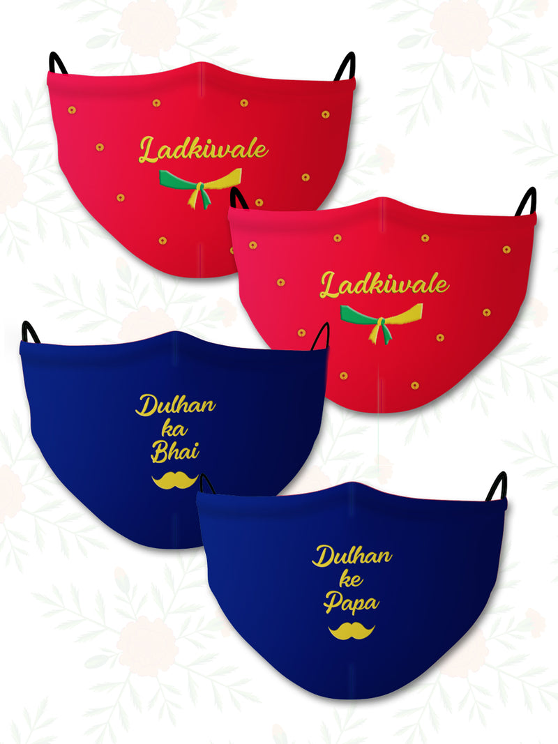 Dulhan ke Papa+Bhai+Ladkiwale (Set of 4) Wedding Face Mask
