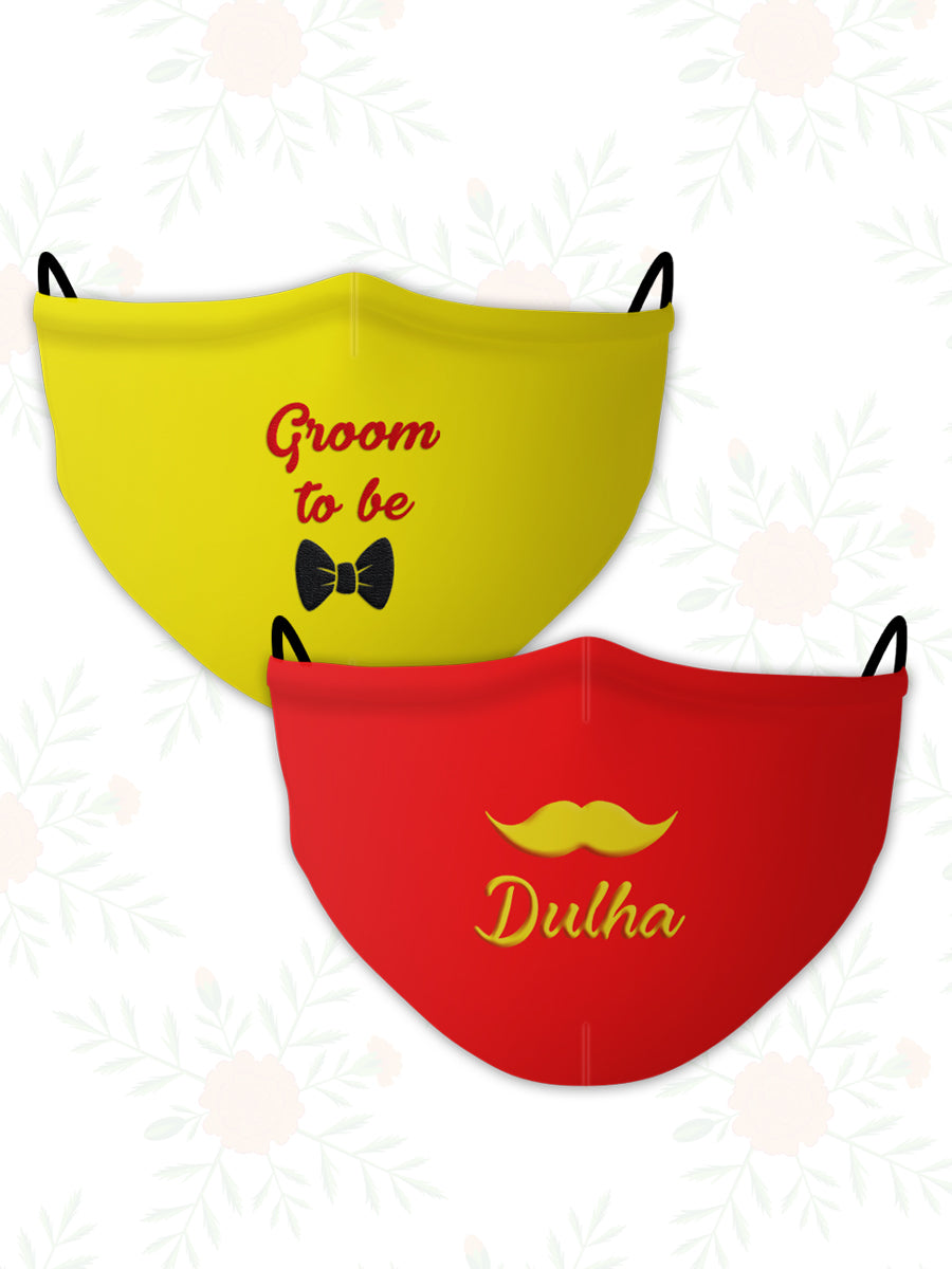 Dulha + Groom to Be (Set of 2) Wedding Face Mask