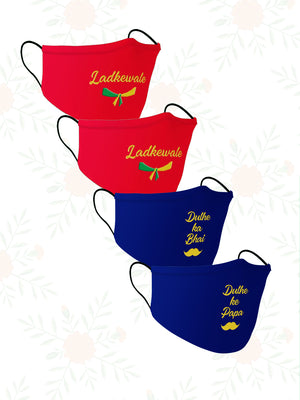 Dulhe ke Papa+Bhai+Ladkewale (Set of 4) Wedding Face Mask