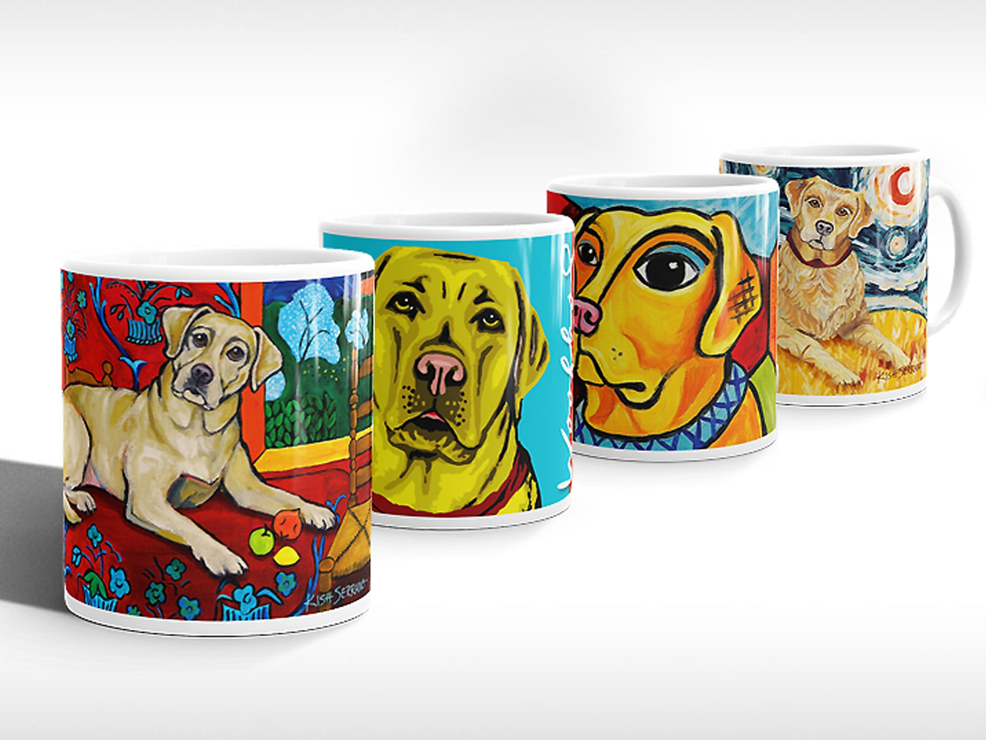 Yellow labrador dog art collection in coffee mugs inspired by Matisse, Warhol, Picasso and Van Gogh..