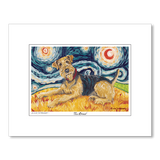 Airedale Starry Night Matted Print
