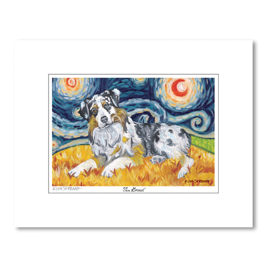 Australian Shepherd Starry Night Matted Print