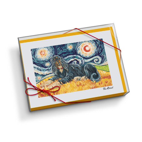 Afghan Black and Tan Starry Night Notecard Set