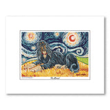 Afghan Black and Tan Starry Night Matted Print
