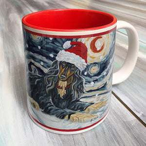 Afghan Black and Tan Holiday Starry Night Mug