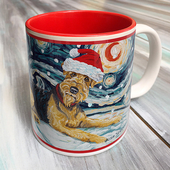 Airedale Holiday Starry Night Mug