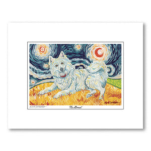 American Eskimo Starry Night Matted Print