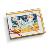 American Eskimo Starry Night Notecard Set