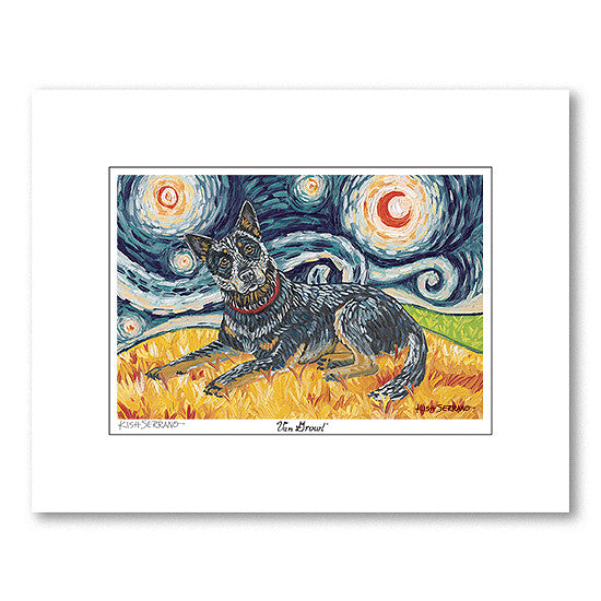 Australian Cattle Dog Starry Night Matted Print