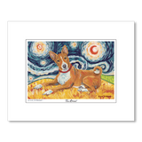 Basenji Starry Night Matted Print