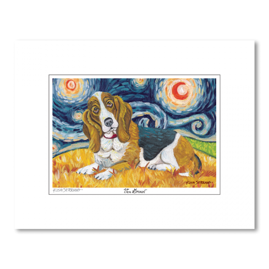 Basset Hound Starry Night Matted Print