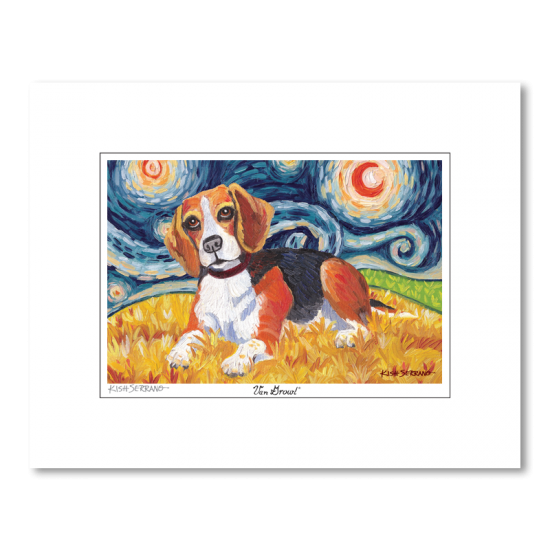 Beagle Starry Night Matted Print