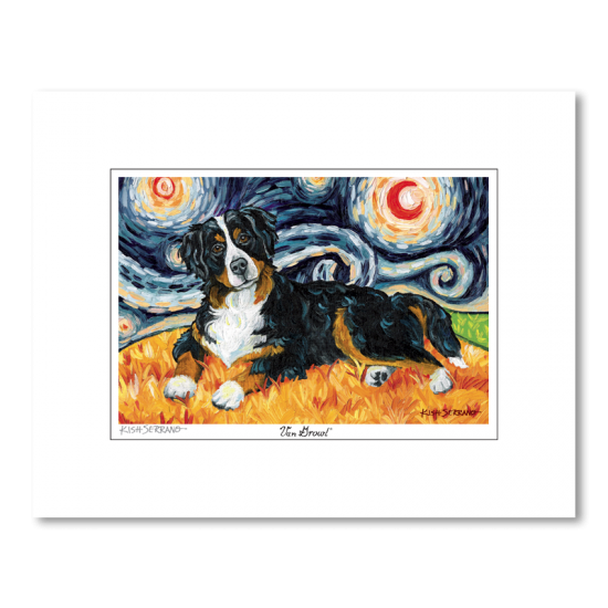 Bernese Mountain Dog Starry Night Matted Print
