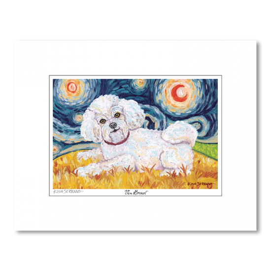 Bichon Frise Starry Night Matted Print