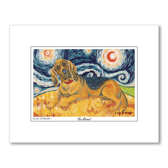 Bloodhound  Starry Night Matted Print