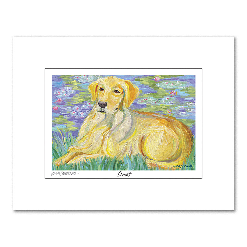 Golden Retriever Bonét Matted Print