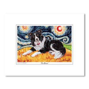 Border Collie Starry Night Matted Print