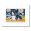 Boston Terrier Starry Night Matted Print