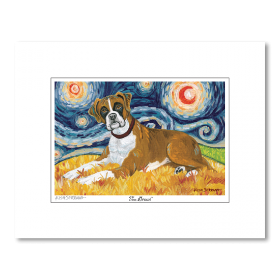 Boxer Starry Night Matted Print