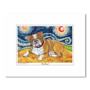 Bulldog Starry Night Matted Print
