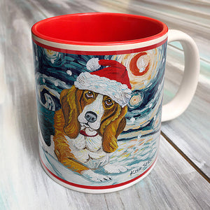Basset Hound Holiday Starry Night Mug