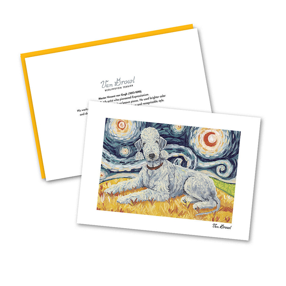 Bedlington Terrier Starry Night Terrier Notecard Set