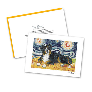 Bernese Mountain Dog Starry Night Notecard Set