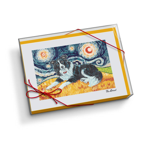 Border Collie Starry Night Notecard Set