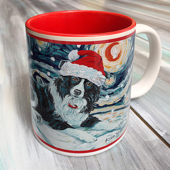 Border Collie Holiday Starry Night Mug