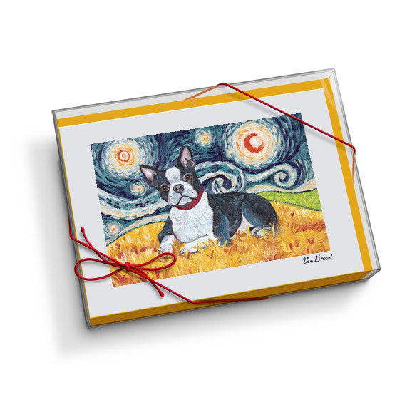 Boston Terrier Starry Night Notecard Set