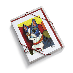 Boston Terrier Pawcasso Notecard Set